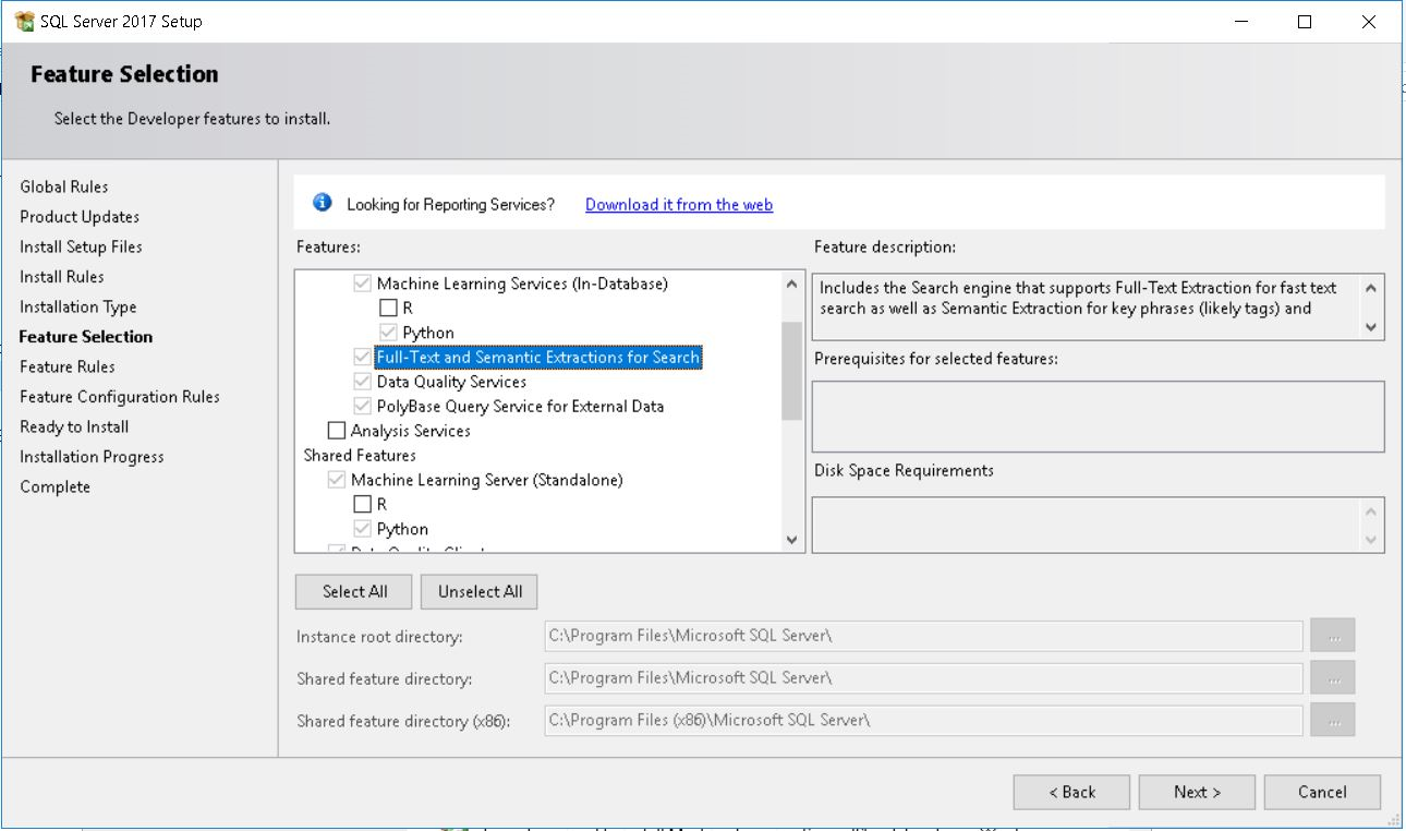 Installing Full-Text Search with SQL 2017 | SqlContent